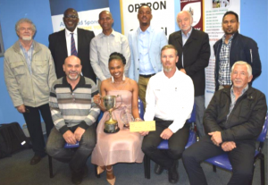 Dolly, second from left, with the SAGC accreditation panel members, some departmental staff members and SAGI and OPTRON representatives