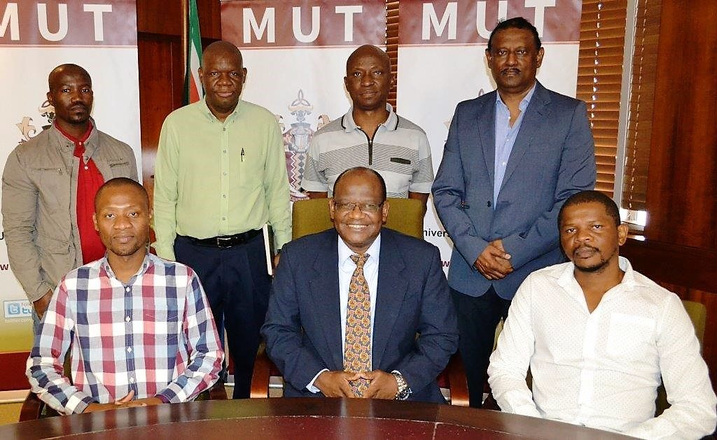 TENUSA leadership with MUT VC, Dr Enoch Duma Malaza, seated, middle, and former HR&D Senior Director, Zweli Dlamini, second from left