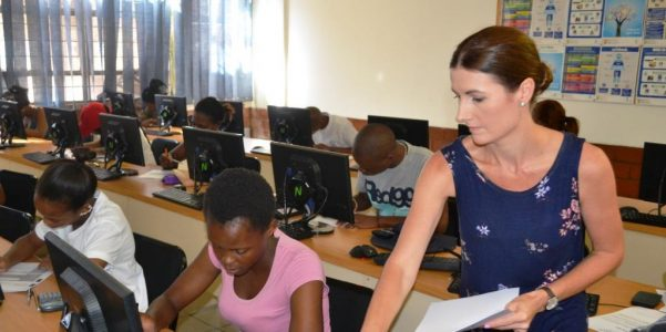 File picture: Janene, foreground, with students at Comtech last year