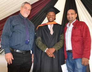 Prof Small, right,  and Prof Coopoosamy, with a Master's of Nature Conservation graduate between them