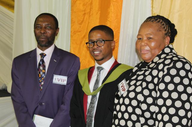 From left, Inkosi Madlala, Freedom, and Undlunkulu at the graduation
