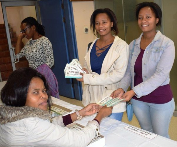 Zinhle and Ziningi collecting their graduation tickets